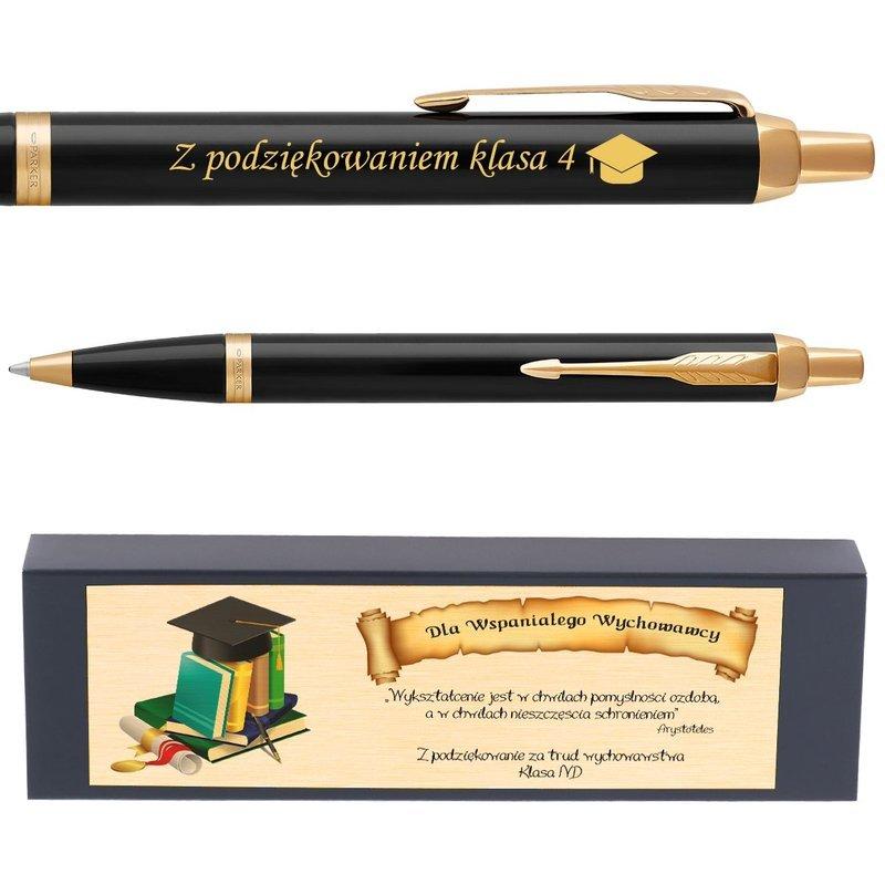 Oryginalny Długopis Parker IM Czarny GT z Grawerem