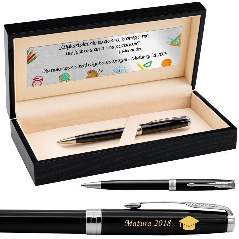 Parker Sonnet CT Długopis Czarny Lacquer w drewnianym pudełku Grawer