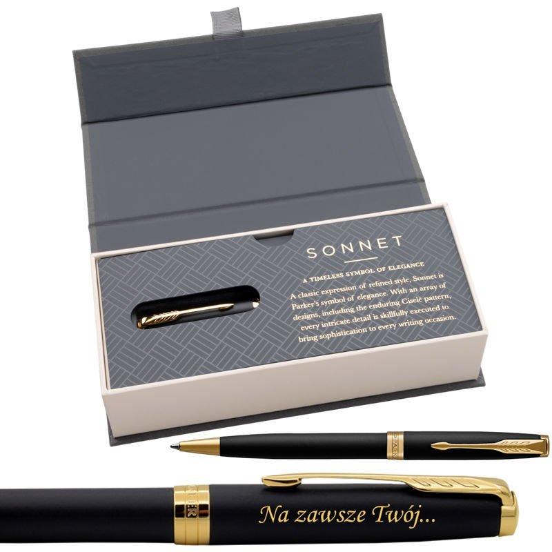 Parker Sonnet GT Długopis Czarny Mat w eleganckim etui Grawer