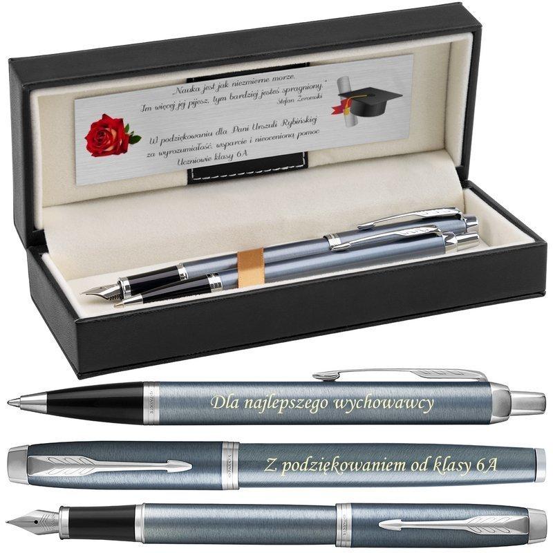 Zestaw Parker IM Pióro + Długopis Blue Grey CT Grawer i etui
