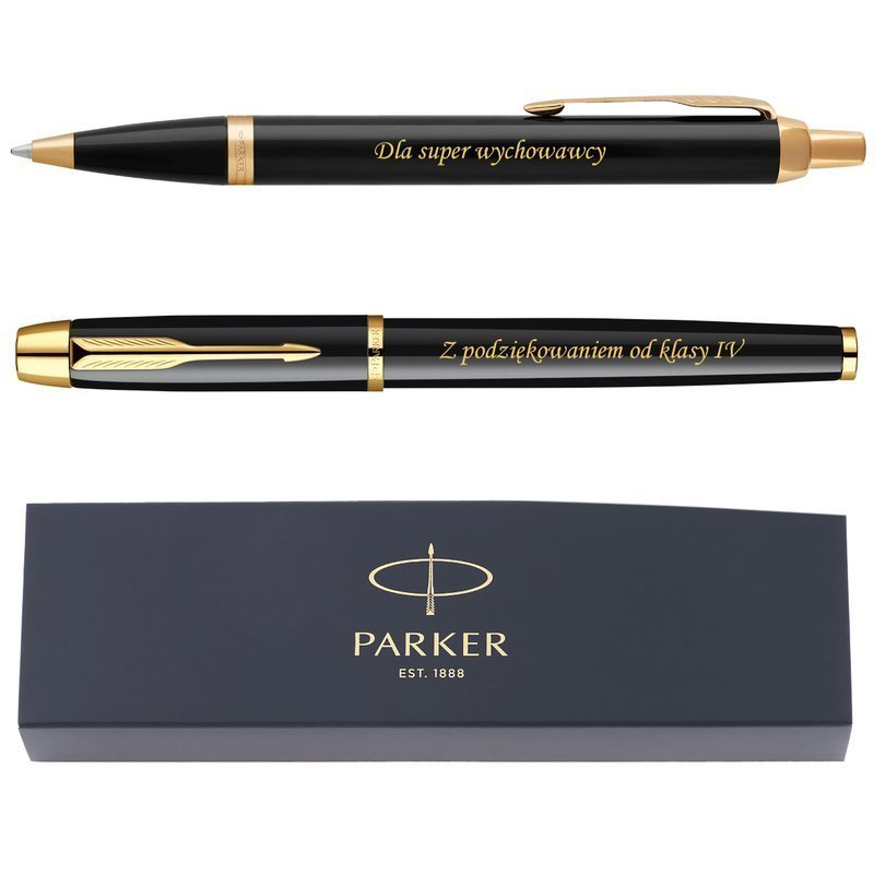 Zestaw Parker IM czarny GT Pióro wieczne Długopis GRAWER