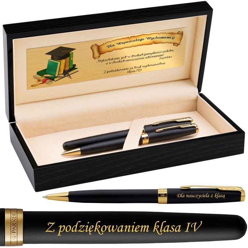 Zestaw Parker Sonnet GT Pióro + Długopis Czarny Mat w drewnianym etui Grawer