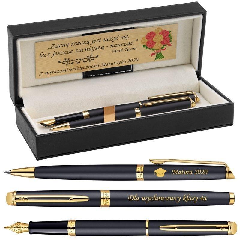 Zestaw Pióro Długopis Waterman Hemisphere mat GT z Grawerem i Dedykacją