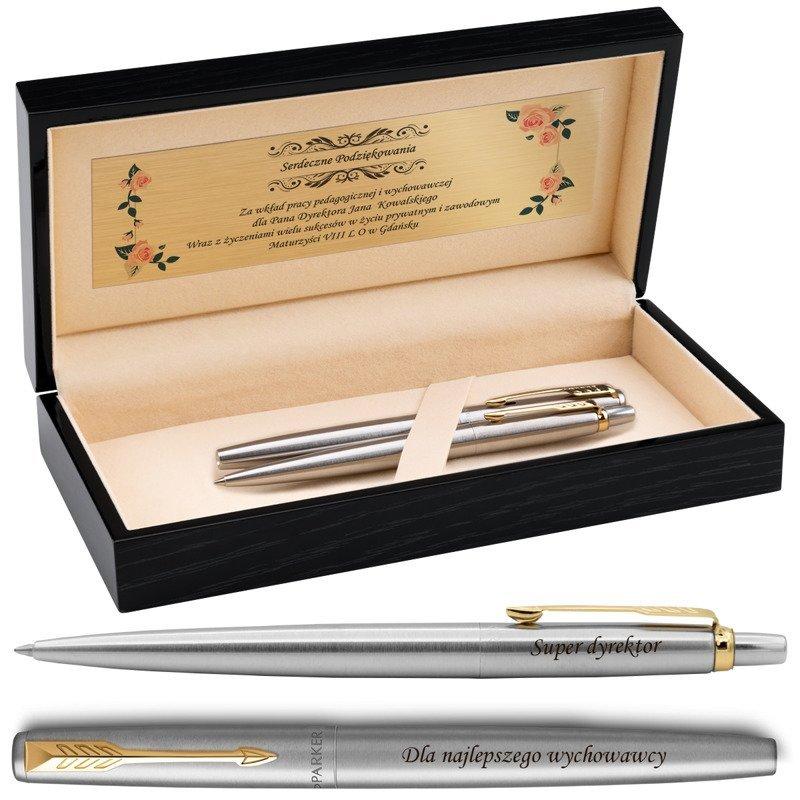 Zestaw Pióro i Długopis Parker Jotter stalowe GT Drewniane Pudełko Grawer
