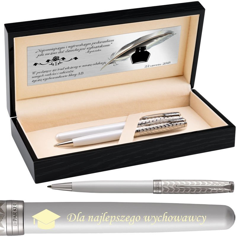 Zestaw Pióro i długopis Parker Sonnet CT 18k. Metal&Pearl w drewnianym etui Grawer