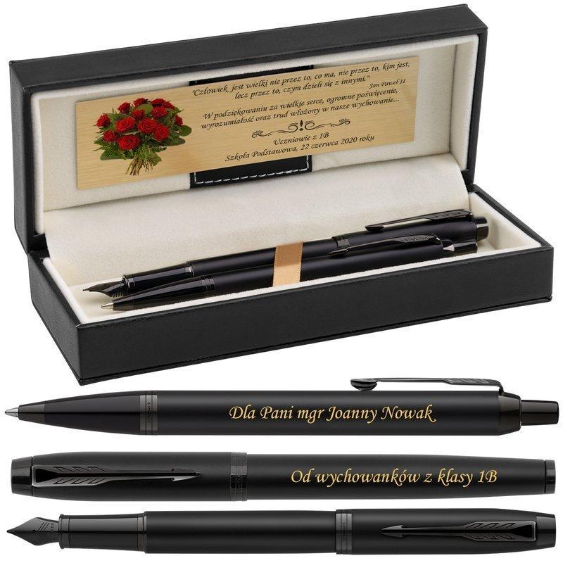 Zestaw Pióro wieczne i Długopis Parker IM Achromatic Czarny z Grawerem