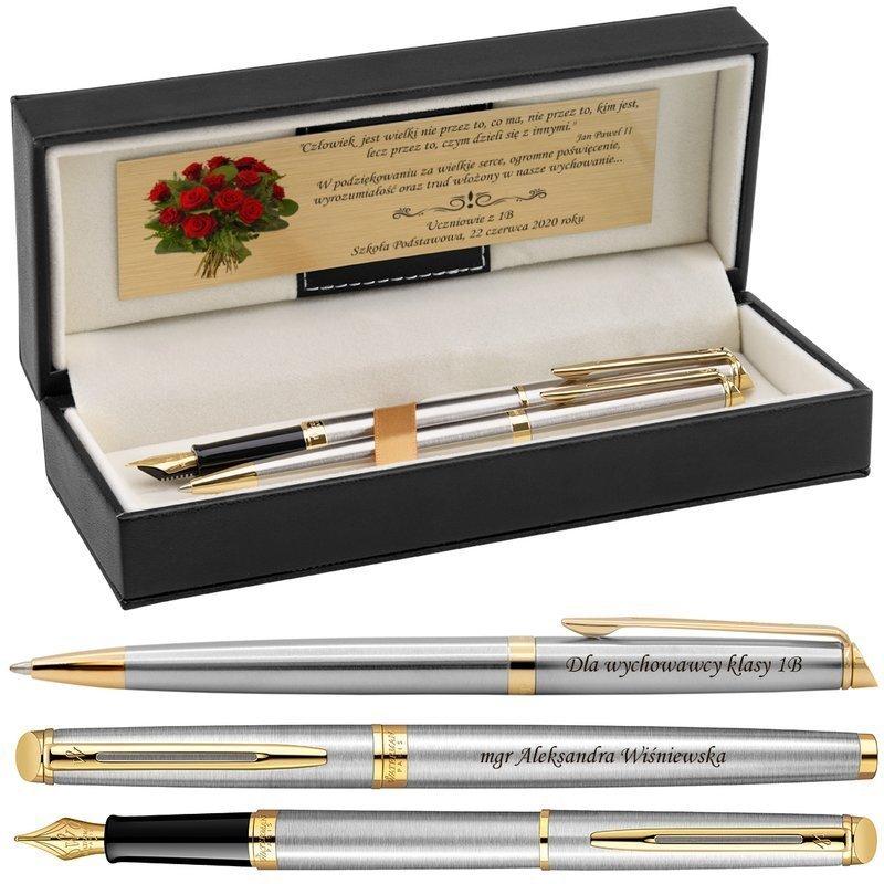 Zestaw Pióro wieczne i Długopis Waterman Hemisphere stalowy GT Grawer