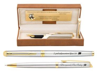 Zestaw Pióro wieczne i Długopis Waterman Hemisphere stalowy GT Grawer Dedykacja Etui
