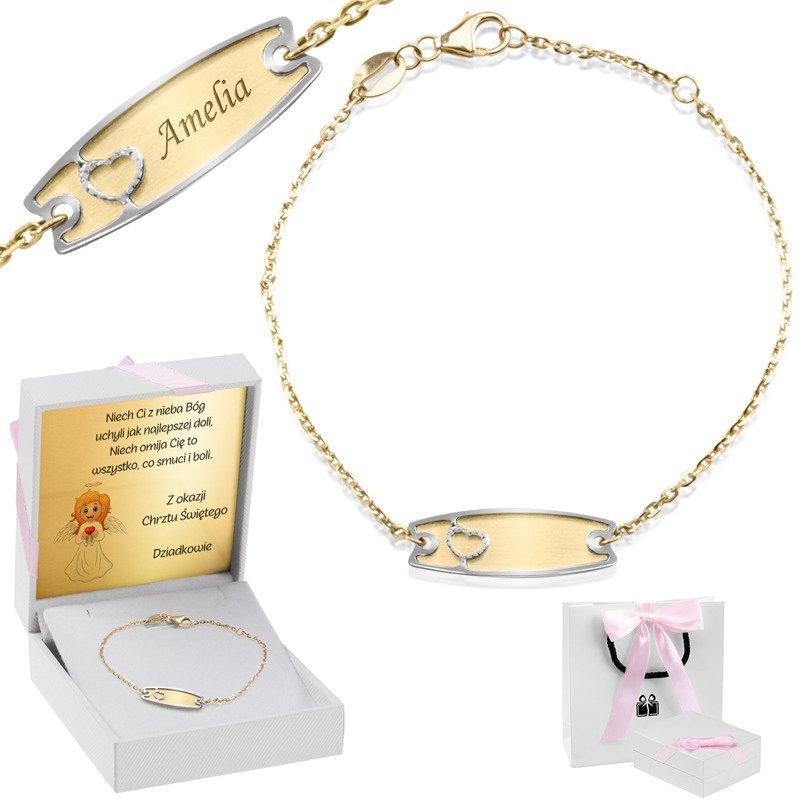 Złota bransoletka łańcuszek z blaszką z serduszkiem pr. 585 Grawer